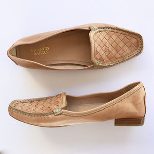 FRANCO SARTO Tan Woven Leather Loafers